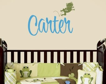 Name Decal with Frog - Children Wall Decal - Boy Personalized Name Wall Decal