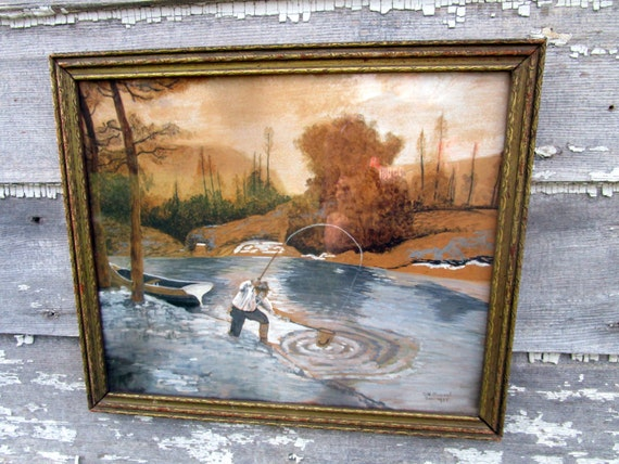 Antique art deco water color painting fishing scene river lake for Art deco colours for painting