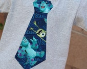 Monsters University Tie Shirt featuring Mike and Sully / you choose color of shirt