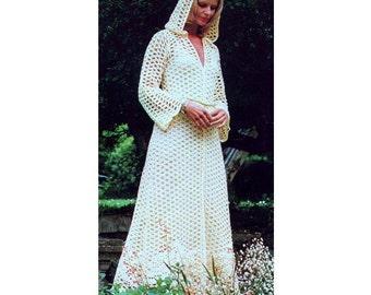 INSTANT DOWNLOAD PDF Vintage Crochet Pattern Maxi Hooded Evening Coat  Kaftan Wedding   Retro