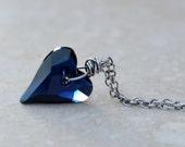 Valentine Necklace - Dark Indigo Swarovski Crystal Heart Pendant with Oxidized Sterling Silver Chain - Medium 17mm pendant - Sweet On You