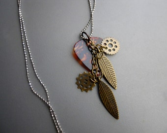 Amber Celluloid Plastic Guitar Pick Steam Punk Charm Long Pendant Necklace, feather watch gear silver copper tone metal