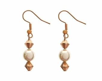 Bridemaids earrings, bridal jewelry, Rose gold swarovski pearl drop earrings, wedding jewelry, gift for bridesmaids, bride mum