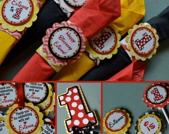 Polka Dot First Birthday Party Decorations Fully Assembled Red Black Yellow