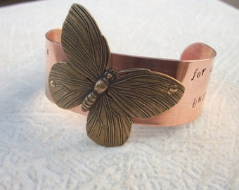 Never Settle For Anything Less Than Butterflies Copper Cuff Bracelet - Hand Stamped One Inch Cuff - Mixed Metal - Brass Butterfly - Riveted