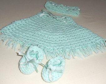 Crochet Baby Girl Headband Bootie Poncho set