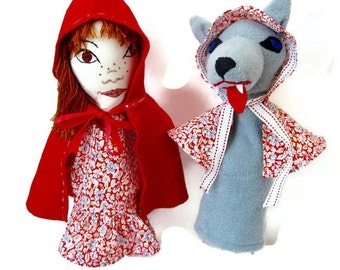 Custom Hand Puppets -Little Red Riding Hood and the Wolf/Fairy Tale Character Puppet Set