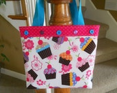 Little Girl's Purse...In Cupcakes and Flowers with Button Accents....Mini Tote Bag...Girls Handbag