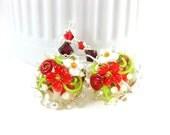 Red White Floral Earrings, Flower Earrings, Glass Earrings, Nature Jewelry, Botanical Earrings, Lampwork Earrings Christmas Earrings Dahlia
