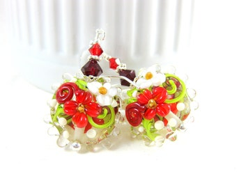 Red White Floral Earrings, Flower Earrings, Glass Earrings, Nature Jewelry, Botanical Earrings, Lampwork Earrings Christmas Earrings Dahlia