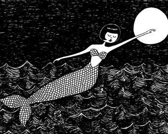 Mermaid black and white fairy tale illustration // art print