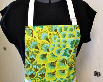 Womens Apron Amy Butler Fabric Full Apron Chefs Apron Adjustable Apron Peacock Feathers Turquoise Chartreuse Pear Green Handmade MTO