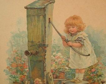 vintage framed print on board Farm House chic Little girl in Garden Aqua cream pink