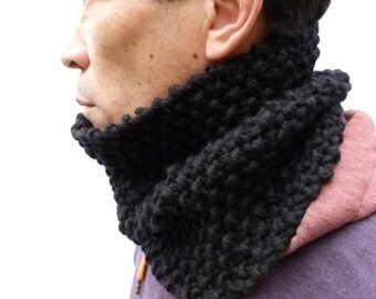 Black Merino Wool Handknitted Cowl, mens scarf, snood, neckwarmer