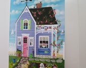 Spring Blooms Cottage Blank Card with Envelope Artwork by Kim Leo