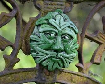 Green Man 'Bealdric' magnet cast stone relief sculpture handpainted