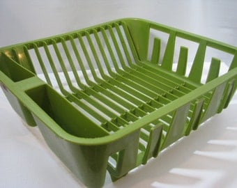 Vintage Rubbermaid Avocado Green Plastic Dish Drainer