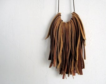 Brown fringe leather necklace, bohemian necklace, rock jewelry, camel brown tones long necklace, earth tones, genuine leather accessory