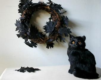 Black Taxidermy Cat -  Halloween Photography Print
