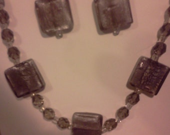 Gray Iridescent Necklace & Earring Set  FREE SHIPPING