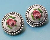 Rare beautiful vintage 1950s unused round handmade petit point embroidery earrings/clips marked Lensia Austria