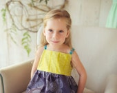 SALE Children's Clothing - Girl's Dress in Chartruese and Grey with Teal Ric Rac straps - Quality Handmade Girl's Dress