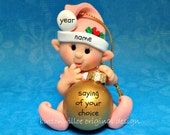 Pink Elf Baby's 1st Christmas Personalized Ornament Figurine First Christmas Ornament Decoration