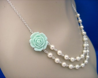 Bridesmaid Jewelry Mint Rose and Pearl Double Strand Wedding Necklace