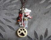 Cat Animal Spirit Totem Necklace kitty native american tribal paw print claw mystical tokens - woodland animal jewelry