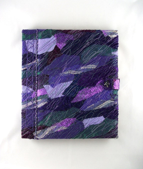 Crazy Patchwork Purple Book, Journal - machine embroidery - one of a kind