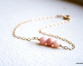 Pink Coral Bracelet , Beaded Dash Bar Bracelet , Gold Bracelet