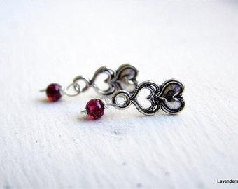 Heart  Stud Earrings in Sterling Silver , Tiny Garnet Earrings , Small Silver Post Earrings , Heart Jewelry