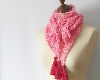 Candy Pink Scarf with Tassel Knitted Shawl with Coral Details Light Weight Kefiah