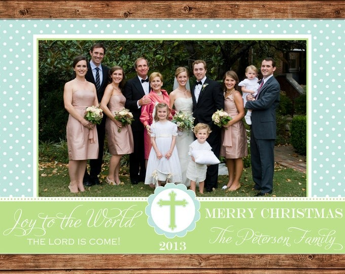 Photo Picture Christmas Holiday Card Chevron with Ribbon - Digital File