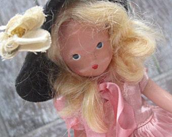 Vintage Nancy Ann bisque doll, pink dress/blonde hair collectible doll 1940's Nancy Ann, bisque nancy ann vintage bisque doll nancy ann doll