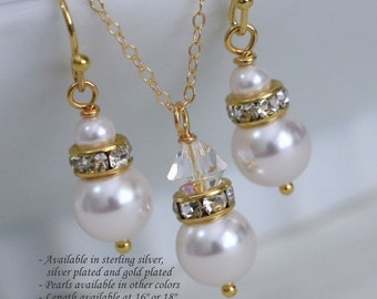 Bridesmaid Gift, WeddingJewelry Set, Swarovski White Pearl and Clear Crystal Necklace and Earring Set, Bridesmaid Jewelry Set