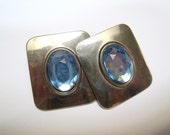 Vintage Square Metal and Blue Post Earrings