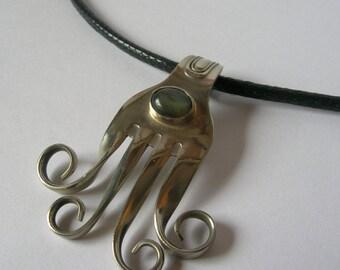 Recycled FORK  PENDANT w/ Labradorite  gemstone-Artisan metalwork