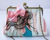 Girl with Flower Clutch Bag Free Motion Embroidery(Cosmetic Case, Makeup Pouch, Travel Bag, Bag Belt)