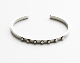 "Edgy silver cuff bracelet handmade of rectangular silver wire and embellished with seven flattened silver balls - ""Union Cuff"""