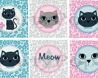 Glam Kitty Party, Cupcake Toppers, Printable, Birthday, Kitten Party, Cat Party, Kitty Cat, Glam, Kitty Birthday, , PDF, INSTANT DOWNLOAD
