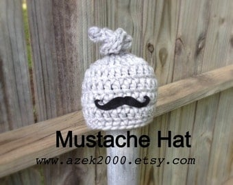 Baby Mustache Hat, Baby Boy Hats, Top Knot Hat, Baby Boy Mustache Hat, Crochet Baby Hats, Hats for boys