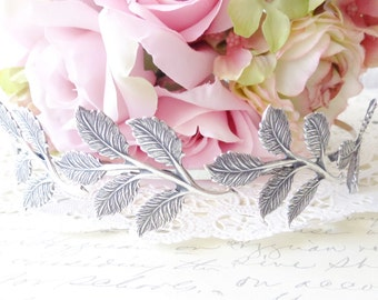 Sterling Silver Plated Leaf Branch Headband - Bridal Crown - Leaf Spray - Woodland Collection - Whimsical - Nature - Bridal