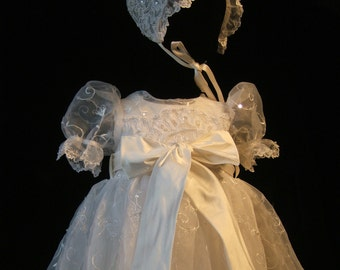 """Angela West Christening gown set """"Delilah """"IV"""" White size TBD with sash tied in front.. Acessories included"""