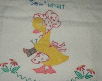 Handpainted Floursack Towel, Kitchen Towel, SEW WHAT, Collectible, Cotton Towel
