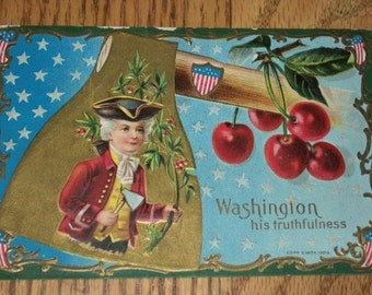 Antique Postcard, Embossed, WASHINGTON his TRUTHFULNESS, Postmark 1911