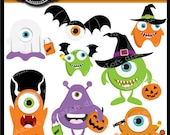 Halloween Monsters Digital Clipart for Personal and Commercial Use