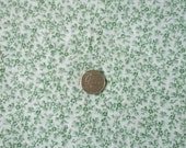 Sale Green and White Small Floral Print 100% Cotton Fabric 1 yd x 43/44""