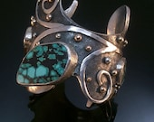 One of a Kind Antiqued Sterling Silver Cuff with Chinese Turquoise & !4k Gold.  FREE STANDARD SHIPPING