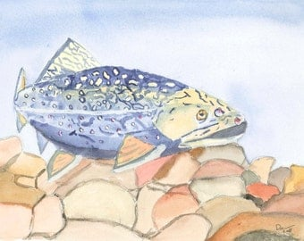 Even Troutbums Get the Blues Matted 10x8 Watercolor Print on Watercolor Paper